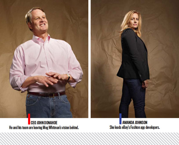 Ceo John Donahoe: He and his team are leaving Meg Whitman's vision behind. | Amanda Johnson: She leads eBay's Fashion app developers.