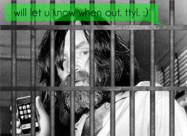 Charles Manson with smartphone behind bars