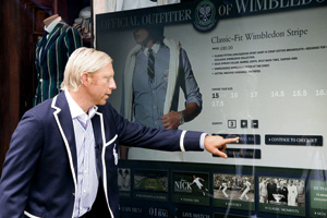 Tennis champ and RL brand ambassador Boris Becker tries out interactive windows in 2007