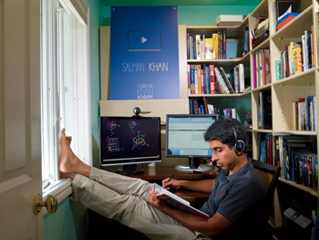 Sal Khan's educational web videos attract roughly 2 million unique visitors a month