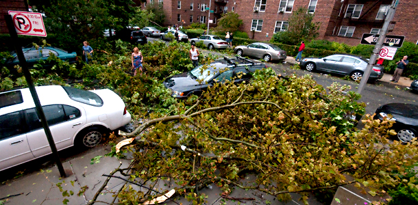 tornado damage in Queens