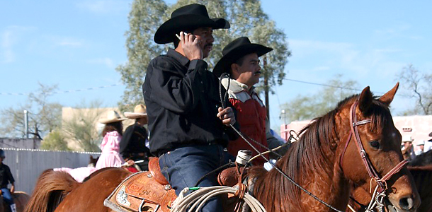 cowboy on cell phone