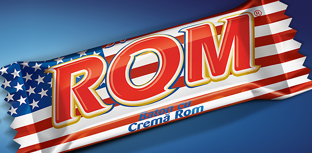 ROM candy bar with U.S. flag wrapper