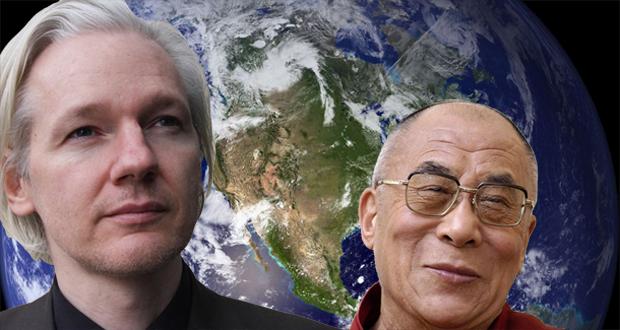 Assange and Dalai Lama