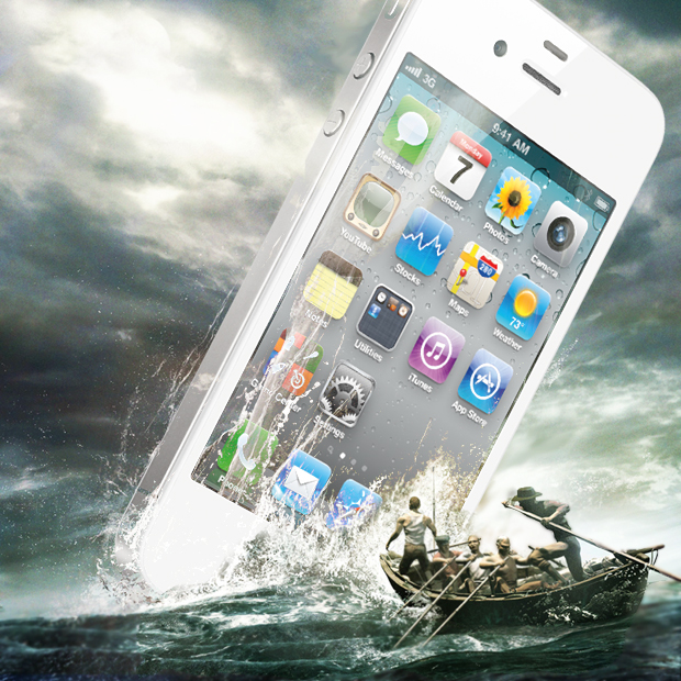 White iPhone being rescued in the sea
