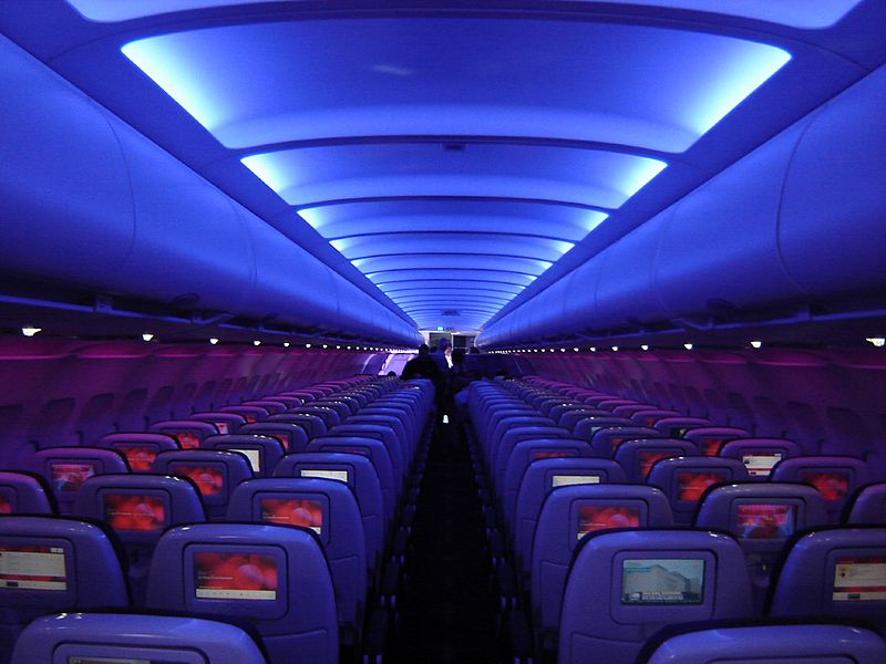 Virgin America airplane cabin