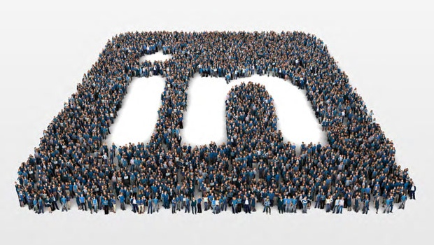 LinkedIn logo down with people