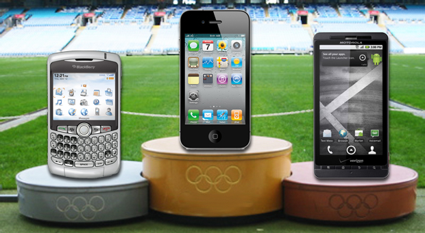 smartphones on Olympic medal podium
