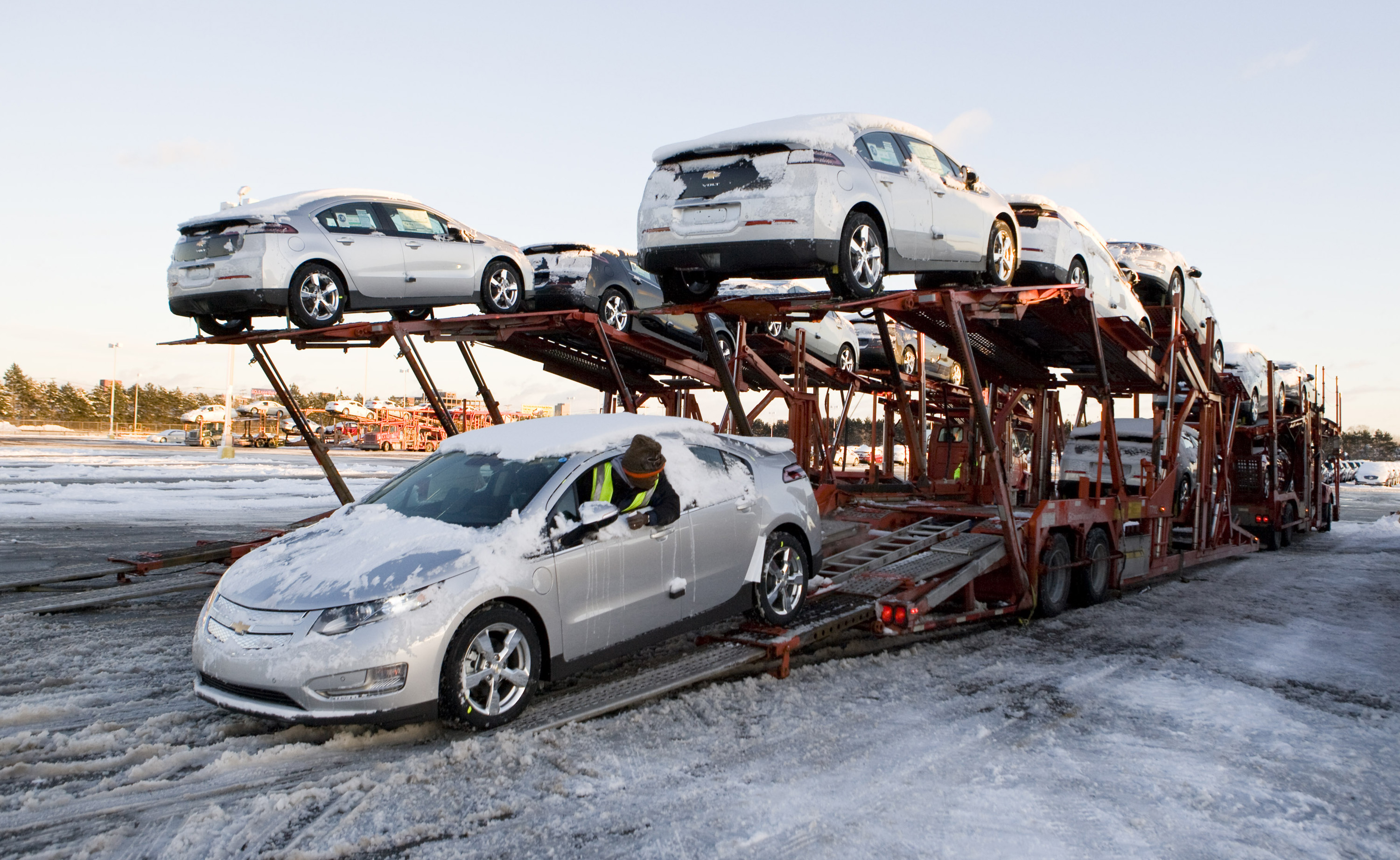 Chevy Volts on car carriers