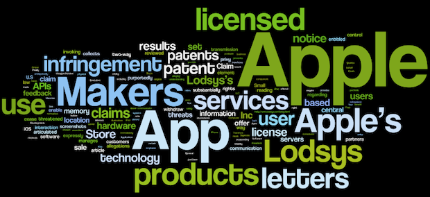 Apple Lodsys case word cloud