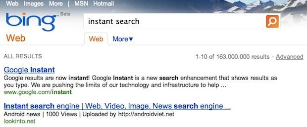 Bing instant
