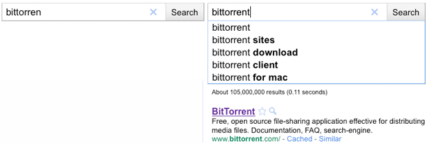Google Instant results for BitTorrent