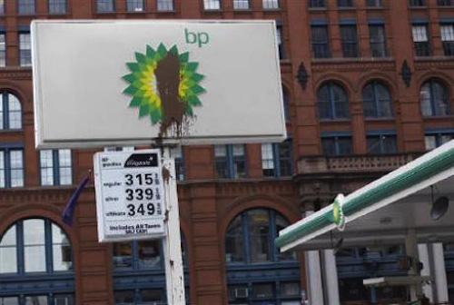 Defaced BP sign