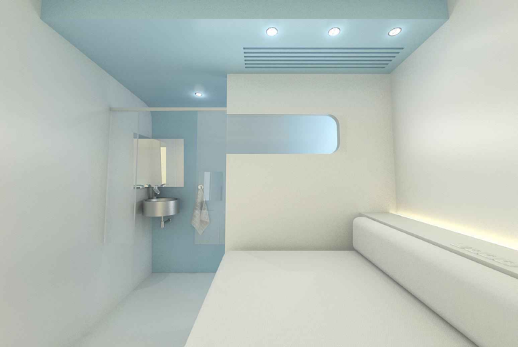 Dream and Fly Bubbles sleeping pod showing bed and corner lavoratory (Click to enlarge)