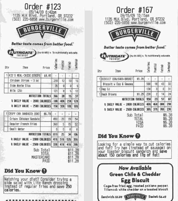 Burgerville receipts