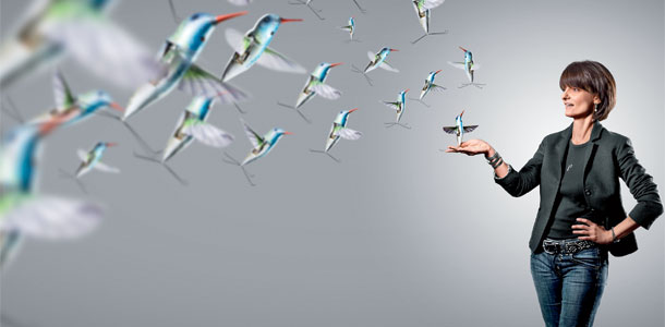 Dugan, shown here with the Nano Hummingbird, a miniature flying robot with a camera that can transmit live video. | Photo by Douglas Sonders