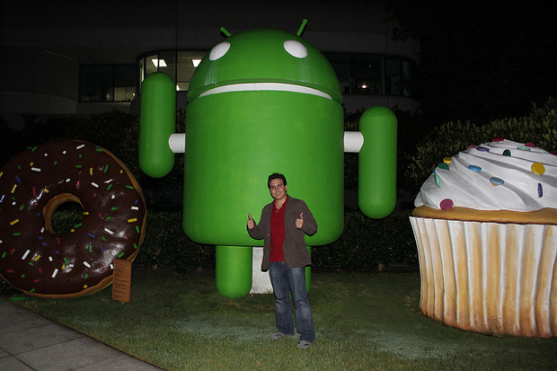 Guy with huge Android bot