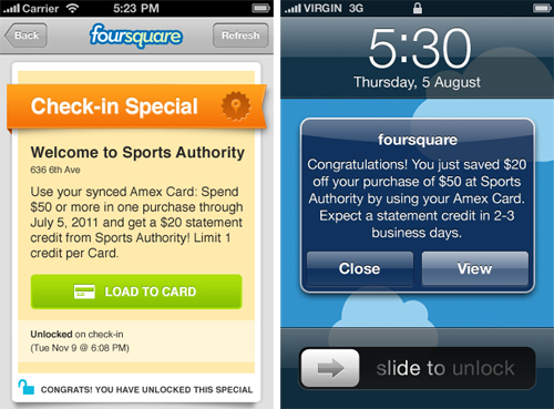 Foursquare AmEx special