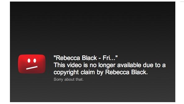 Rebecca Black Friday video taken down notice
