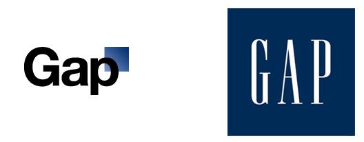 beloved GAP logo (left) and redesign (right)