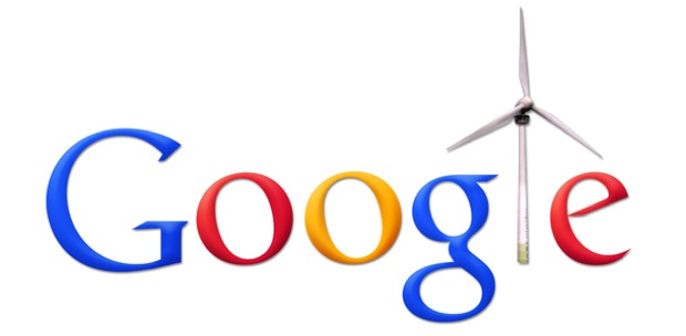 Google logo with wind turbine