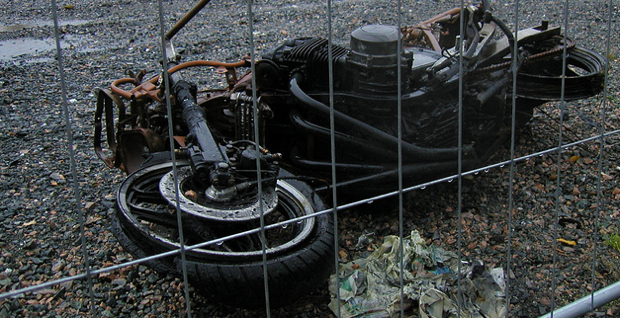 burned out motorcycle