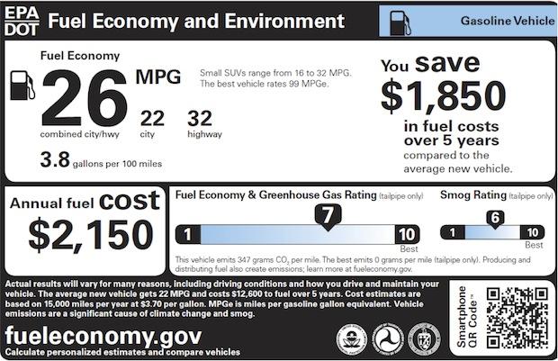 new EPA gas mileage sticker