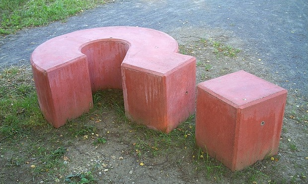 question mark bench