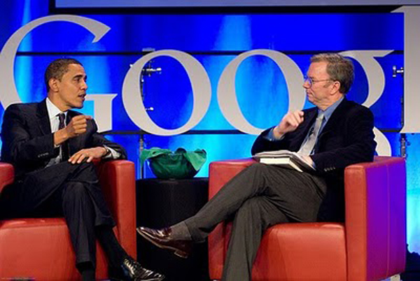 President Obama with Eric Schmidt