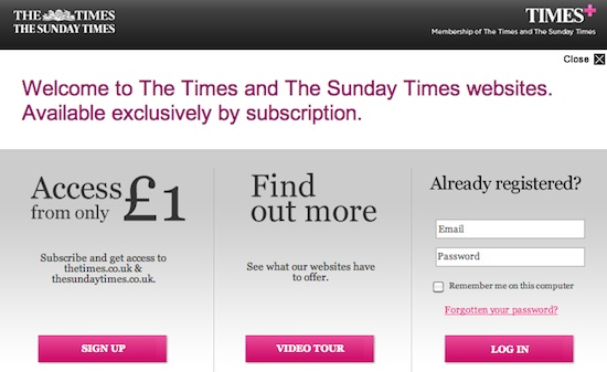 U.K. Times paywall signup page