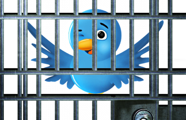 twitter bird behind jail baars