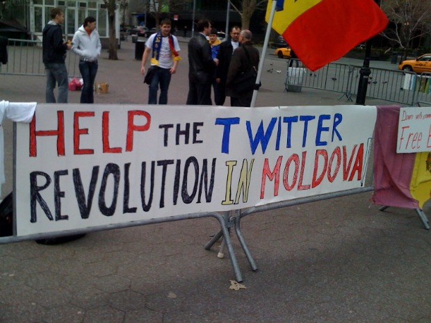 Twitter revolution sign in Moldova