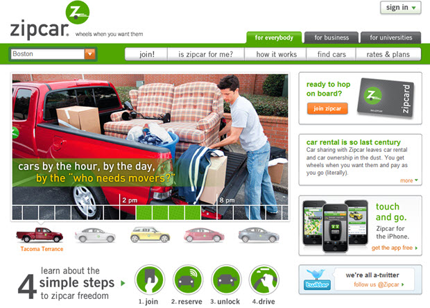 Zipcar home page