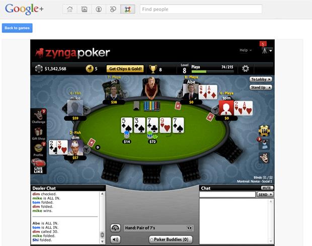 Zynga Poker on Google+
