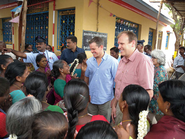 "In 2009, Damon and Gary White cofounded Water.org. That same year, they visited this town in the Indian state of Tamil Nadu. Their initial trips into the field included a foray to South African slums while Damon was shooting <em />Invictus. | Courtesy of Water.org""></p> <div class="