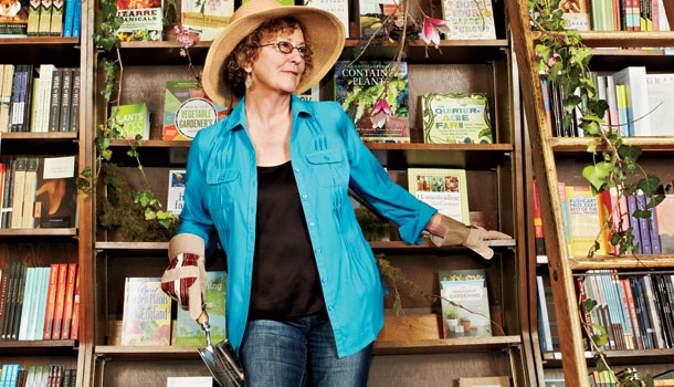 Dana Brigham at her Massachusetts bookstore, tending the garden of a dead-tree industry.
