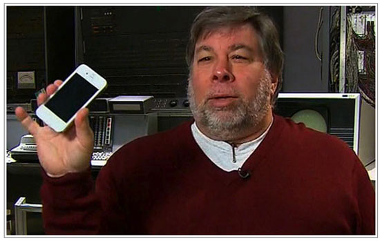 Steve Woz with white iPhone