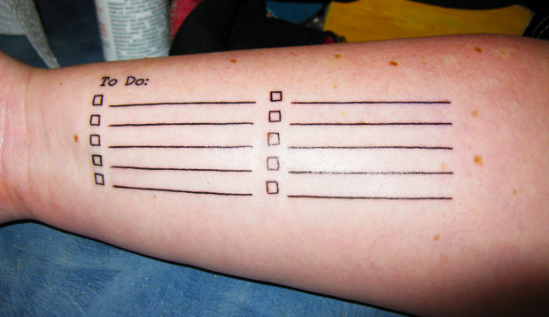 to-do list tattoo on arm