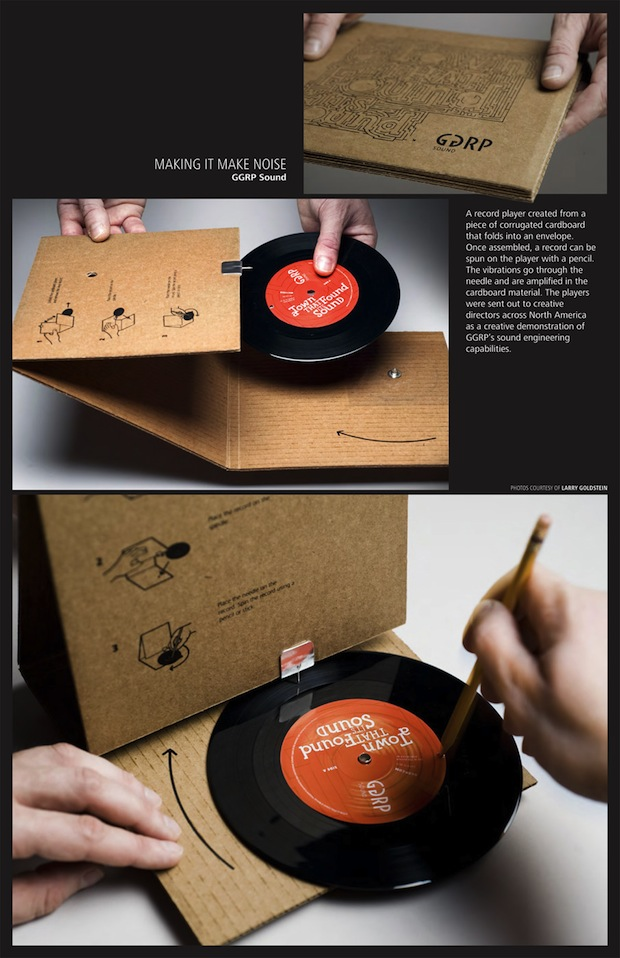cardboard record sleeve turns into record player. Black Bedroom Furniture Sets. Home Design Ideas