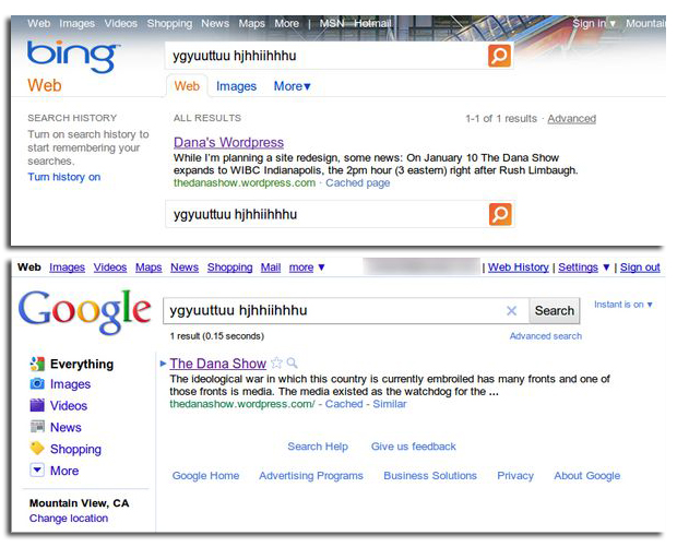 Bing Google search results
