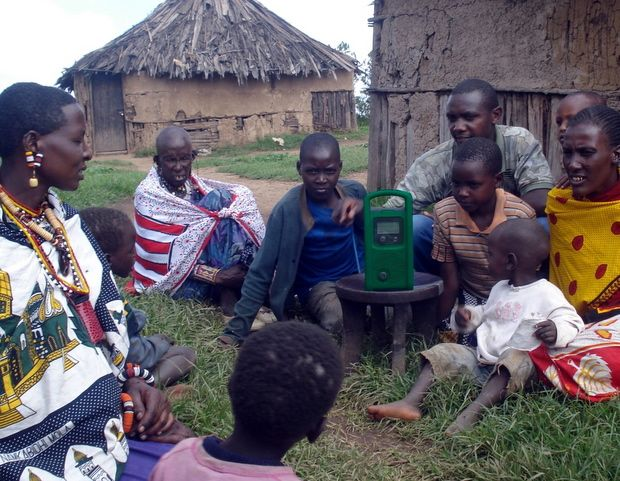 Lifeplayer MP3 radio in African village