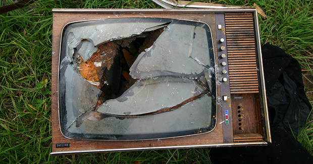 old smashed TV set