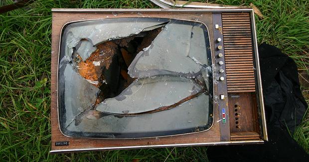 old smashed TV set