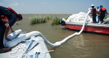 Gulf oil spill cleanup booms