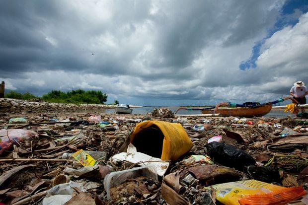 trash on Indonesian beach