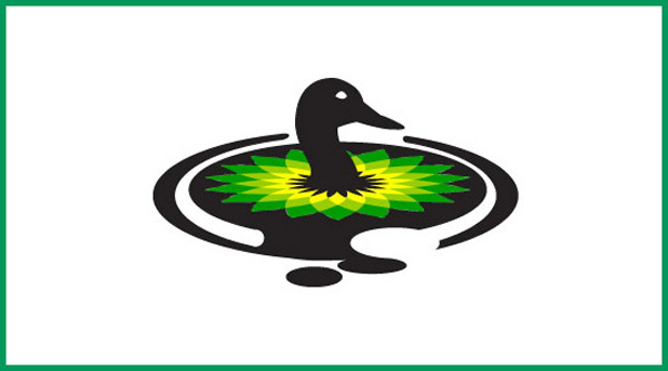 BP logo duck covered in oil