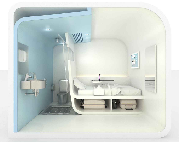 Dream and Fly Bubbles sleeping pod interior showing bathroom view, bed and room for storing luggage (Click to enlarge)