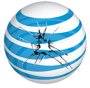 cracked ATT logo