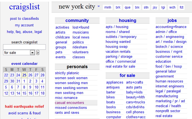 Craigslist erotic in new services york