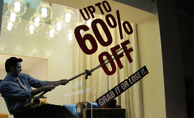 Sale sign in store window